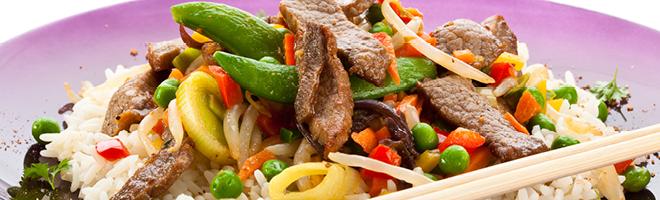 | Rindfleisch mit Reis