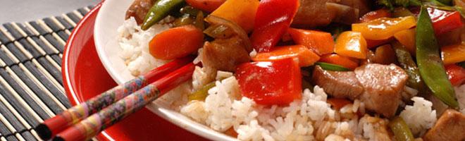 | Schweinefleisch mit Reis